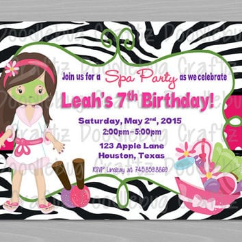 Printable SPA PARTY GIRL Theme - Birthday Party Invitation - Personalized - 24hr Turn Around - Choose 5x7 or 4x6 - Manicure - Makeover