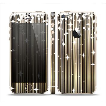 The Gold & White Shimmer Strips Skin Set for the Apple iPhone 5s