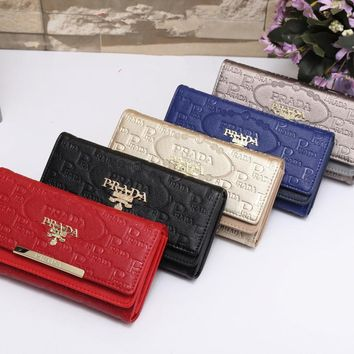 """Prada"" Women Simple Fashion Letter Embossed Three Fold Long Section Purse Button Flip Wallet Handbag"