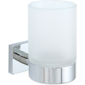 BR Quaruna Wall Frosted Glass Toothbrush Toothpaste Holder Bath Tumbler Brass