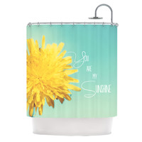 "Beth Engel ""You Are My Sunshine"" Teal Flower Shower Curtain"