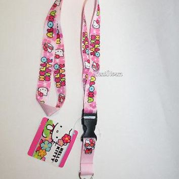 Licensed cool ALOHA Hawaii Hello Kitty Lanyard Key Holder Quick Release Keychain San Rio PINK