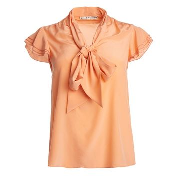 Laney Flutter Sleeve Bow Blouse | Alice + Olivia
