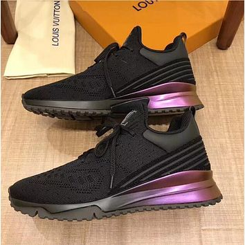 Louis Vuitton LV New Trending Women Men Stylish Knitted Running Shoe Sneakers Black I/A