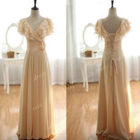 short sleeves prom dress, champagne prom dresses, elegant prom dresses, champagne bridesmaid dresses, prom dresses, BE0327