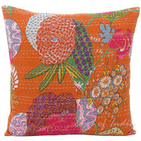24x24 Orange Kantha Pillow, Handmade Kantha Decorative throw Pillow, kantha cushion Floral Pillow Cushion, Indian large floor Pillow cushion