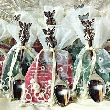 12 Assorted Holiday Tea Bag (Teaspoon) and Angel Demi Spoon Favors in Bags