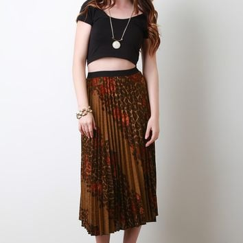 Diagonal Floral Leopard Accordion Skirt