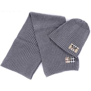 Burberry autumn and winter models men and women wool hat scarf two-piece F-AJIN-BCYJSH Grey