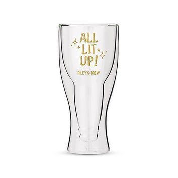 Personalized Double Walled Beer Glass All Lit Up! Printing White (Pack of 1)