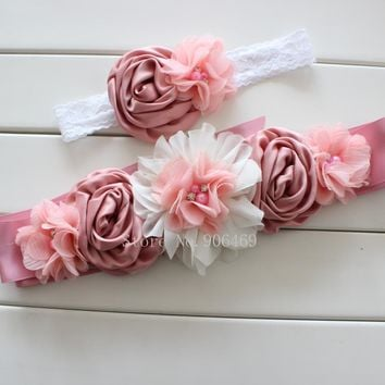 Fashion Vintage Pink/ivory flower Belt,Girl Woman Sash Belt Wedding Sashes belt with flower headband 1 SET