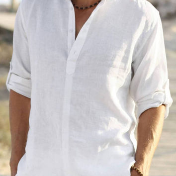Man white groom groomsman linen shirt beach wedding party special occasion birthday summer