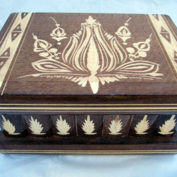 Brown Wooden Large Puzzle Jewelry Box w/ Hidden Compartment  Romania Hungary
