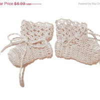 "Special Birthday Sale Baby Booties Off White Baby Shoes Crochet Booties 3 "" Newborn Shoes OOAK Booties Reborn Baby Doll"