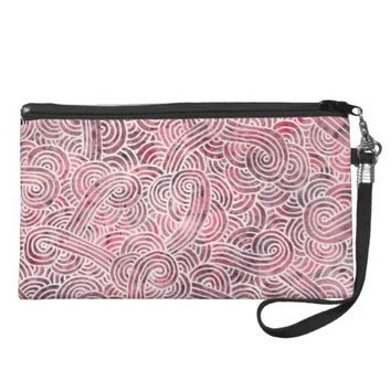 Wrist bag - Red and white scrolls Wristlet Clutch