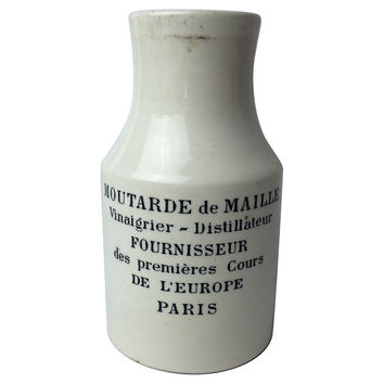 French Stoneware Mustard Advertising Jar