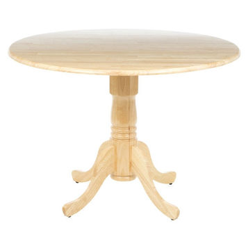 Natural Finish 42-inch Round Drop Leaf Dining Table with Pedestal Base