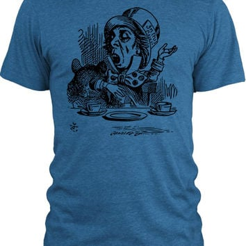 Big Texas Alice in Wonderland - Mad Hatter Engaging (Black) Vintage Tri-Blend T-Shirt