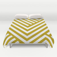 Gold Stripes Duvet Cover by Liv B