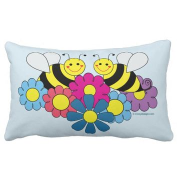 Bumble Bees & Flowers Design Lumbar Pillow