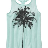 Old Navy Girls Banded Back Graphic Tanks