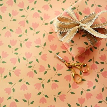 Orange Flowers Gift Wrap Sheets