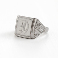 "Antique Art Deco ""D"" Signet Ring - Silver Tone Size 9 1920s Etched Flower Floral Monogrammed Initial Jewelry"