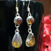 Dominican Blue Amber Dangle Earrings Sterling Silver Teardrop Round Caribbean Dream Green Purple stone 925 OOAK