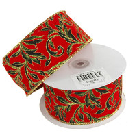 Poinsettias Glitter Holiday Christmas Ribbon Wired Edge, 2-1/2-Inch, 10 Yards, Red