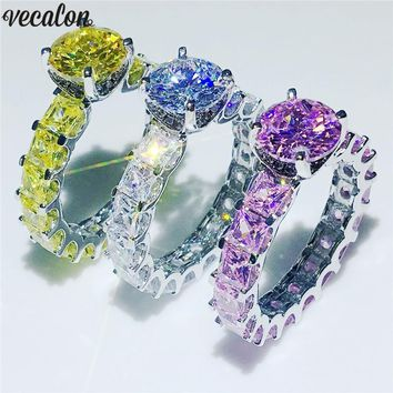 Vecalon 3 Colors Vintage Birthstones Ring 925 Sterling silver 5A Zircon Cz Party Wedding Band rings for Women Men Jewelry Gift