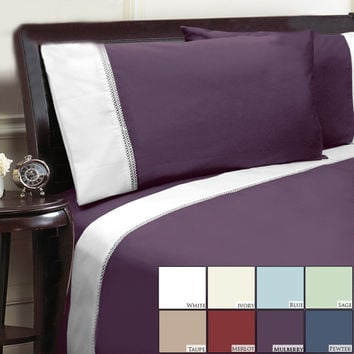 Veratax Home Decorative Bedding Collection Duet 500Tc Sheet Set Full Taupe