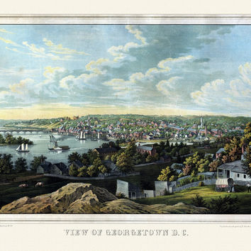 Antique Map of Georgetown Washington DC 1855 King County