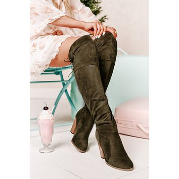 Kayline Thigh High Boots (Olive Suede)
