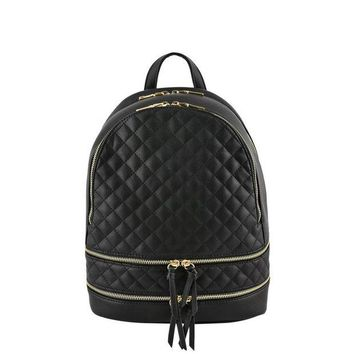ONETOW Blush Metallic Quilted Backpack