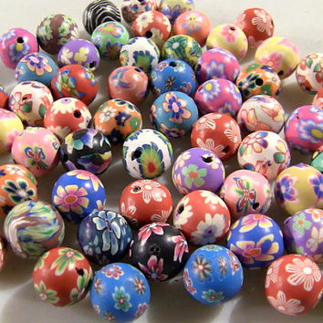 Ceramic Floral Pattern Design 12 mm Round Big Ball Beads 70g Bag - Flower Jewelry Necklace and Bracelet Fashion Bead Arts & Craft Supply