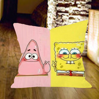 Spongebob and Patrick Piece Pillow Cover by wongsshop