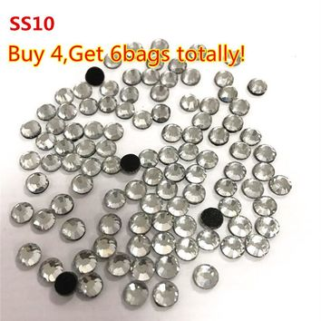 Buy 4Bags Get 2bags more ,Transfer Stone 1440pcs SS10 Crystal Clear DMC Hotfix Rhinestones With Round Flatback  For Clothes Bags