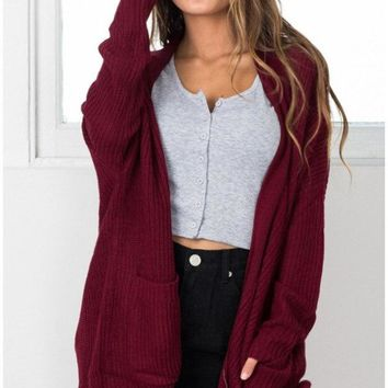 Red Casual Knit Cardigan Jacket