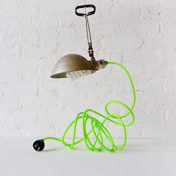 10% SALE Vintage Industrial Clip Clamp Light w/ Antique Lamp Shade and Neon Yellow Green Cord