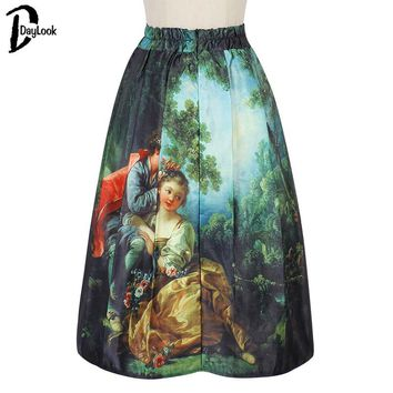 DayLook Summer Style 2016 Pleated Skirt Baroque Vintage Oil Painting Print Skater Elegant Midi Skirts Women Tutu M#L