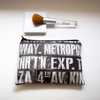 Bridesmaid Gift Idea Cosmetic Pouch Clutch Purse, padded zipper clutch pouch purse bag in gray white subway stations