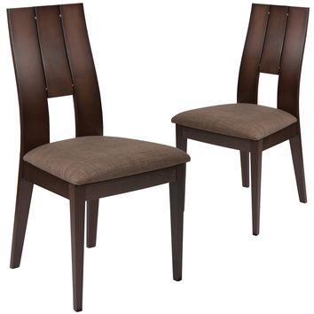 2 Pk. Emerson Wood Dining Chair with Curved Slat Keyhole Back and Fabric Seat