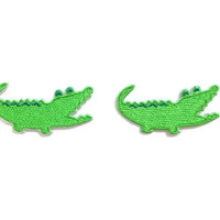 Set 2pcs. Little Green Crocodile Super Cute Animal New Sew / Iron On Patch Embroidered Applique Size 5cm.x2.4cm.