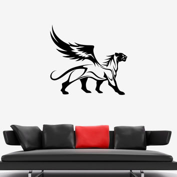 Wall Decal Panther Leopard Jaguar Wings Animal Wild Cat Griffin Vinyl Sticker Unique Gift (ed614)