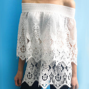 White Off The Shoulder Lace Cover-Up