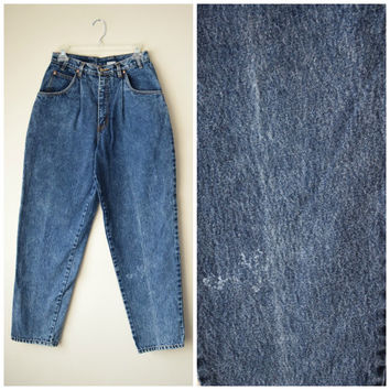 80s Bill Blass High Waist Tapered Jeans // Slight Acid Wash Denim // Trendy Hipster Grunge, Old School Hip Hop Style