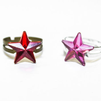 Little Star Ring adjustable In Pink-Silver and Red-Bronze