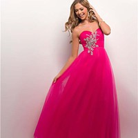 Hot Pink Tulle Strapless Sweetheart Prom Gown - Unique Vintage - Prom dresses, retro dresses, retro swimsuits.