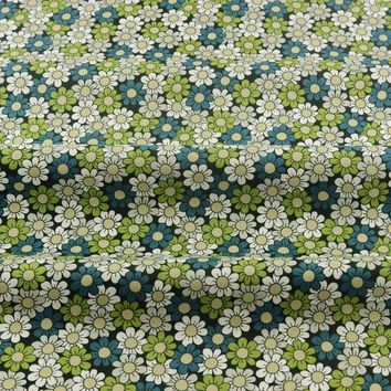 Green Printed Floral Designs 100% Cotton Fabric Sewing Decoration Home Textile Bedding Scrapbooking Quilting Patchwork Twill