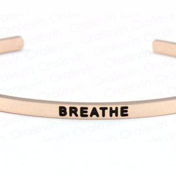 Inspirational Breathe Cuff Mantra Bracelet Gold Tone